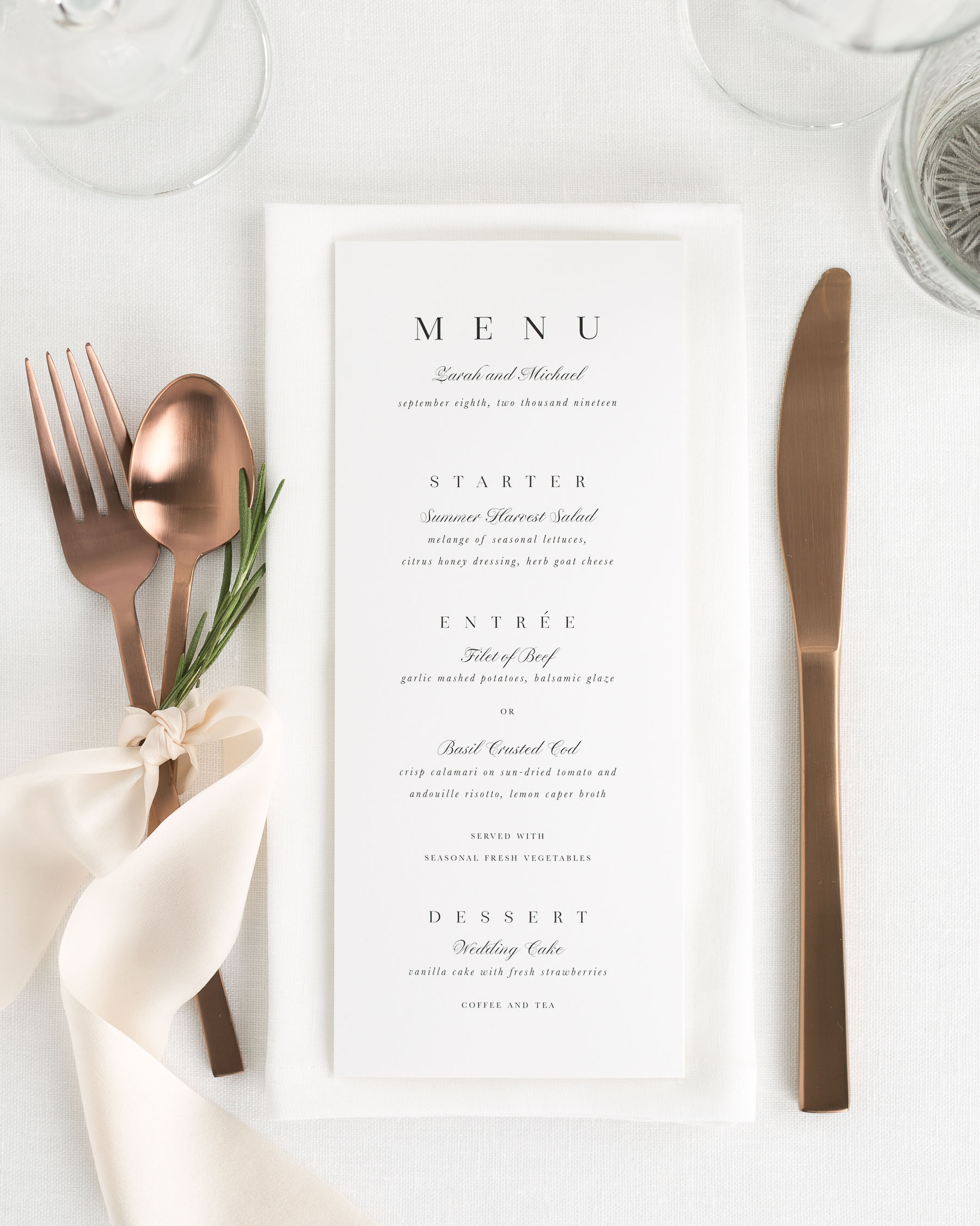 Zarah Wedding Menus Wedding Menus By Shine
