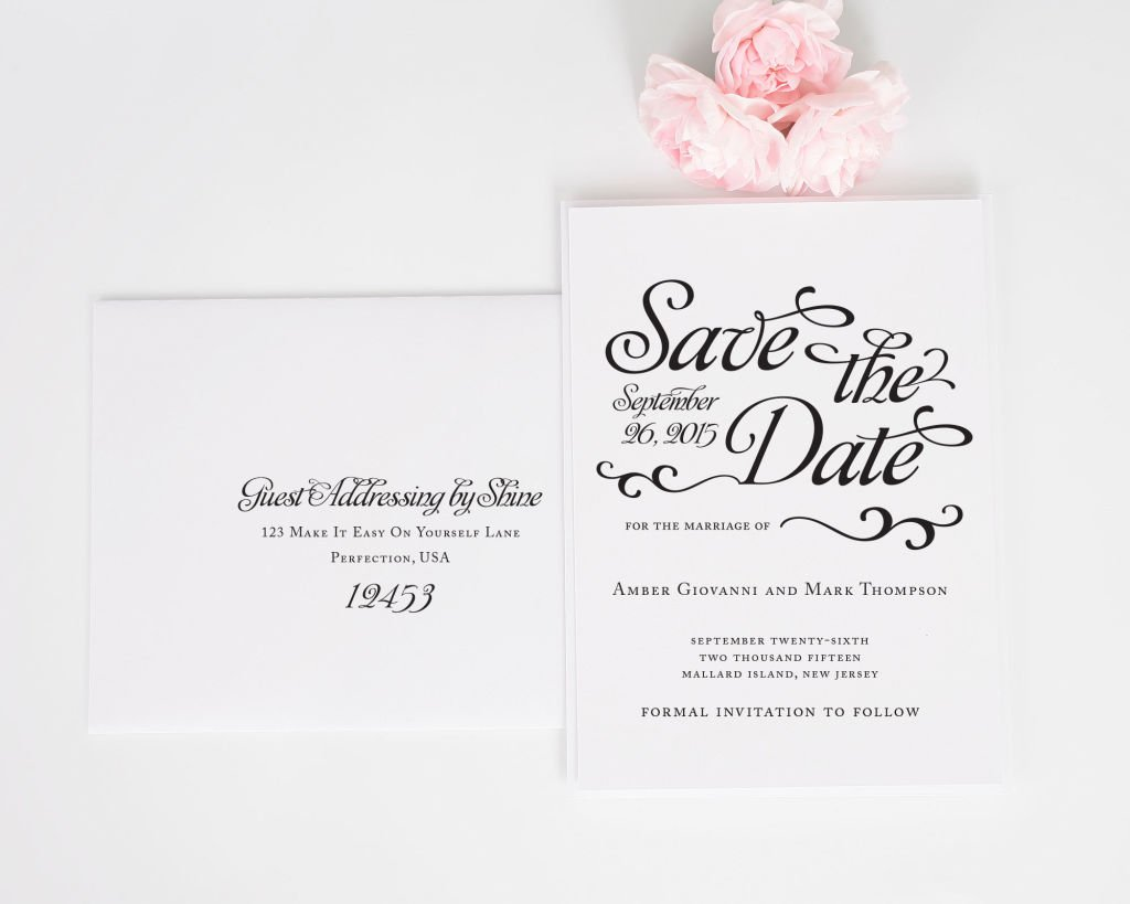 Alluring Script Save the Date with Addressing