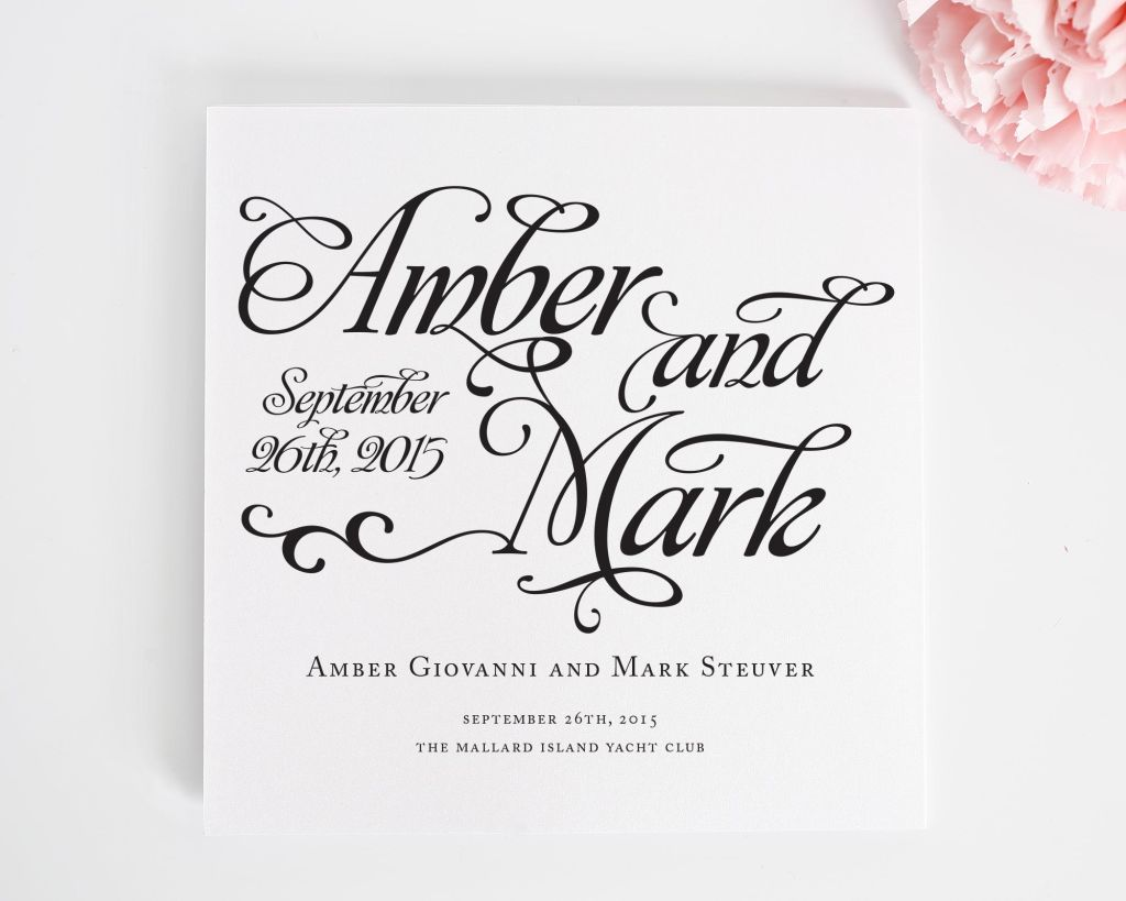 Rustic square wedding programs