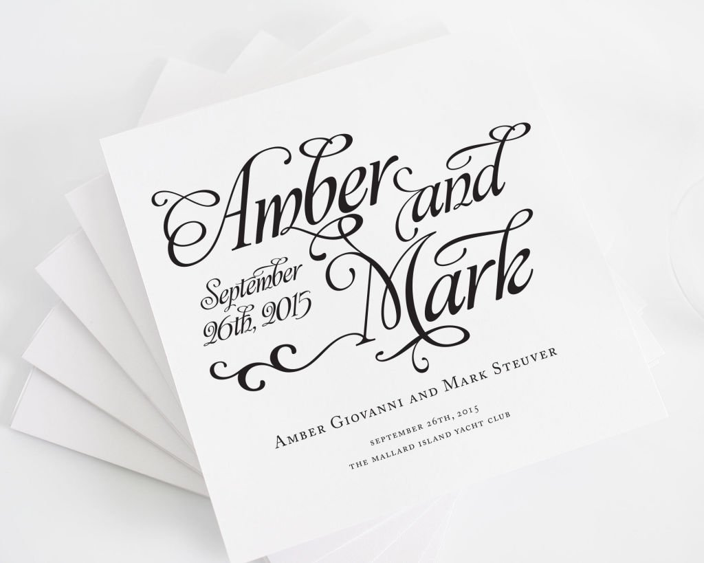Alluring Script Wedding Invitations