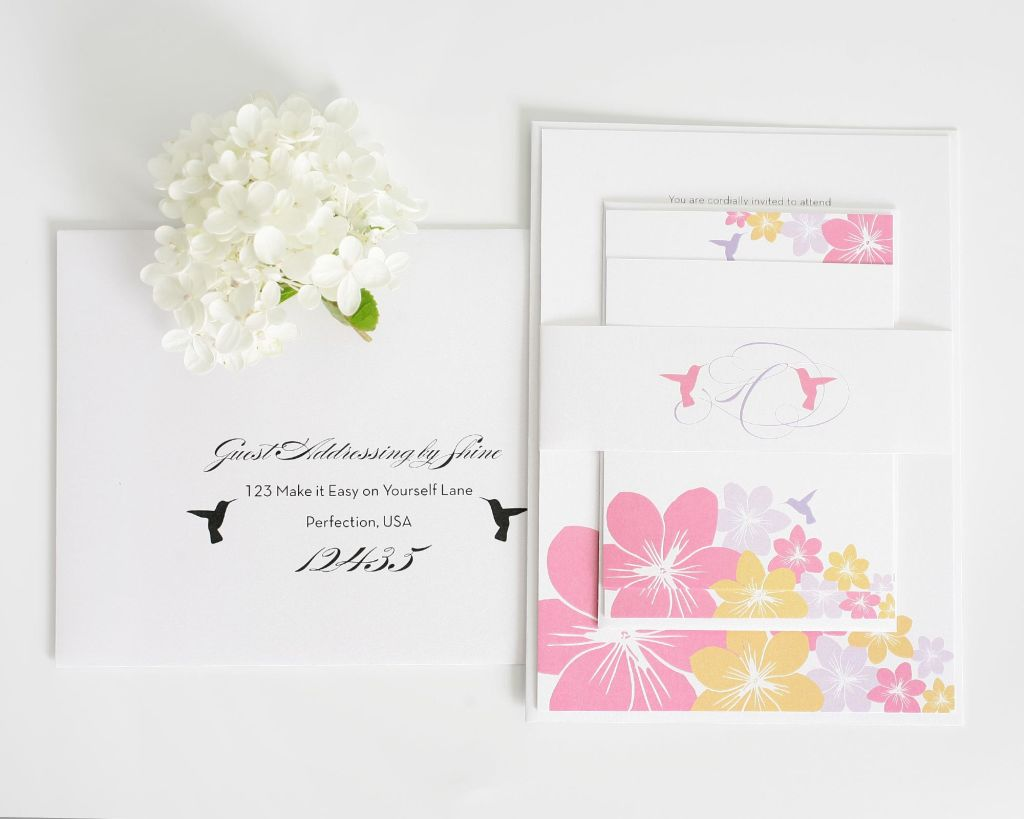Beach Wedding Invitations with Flowers and Hummingbirds