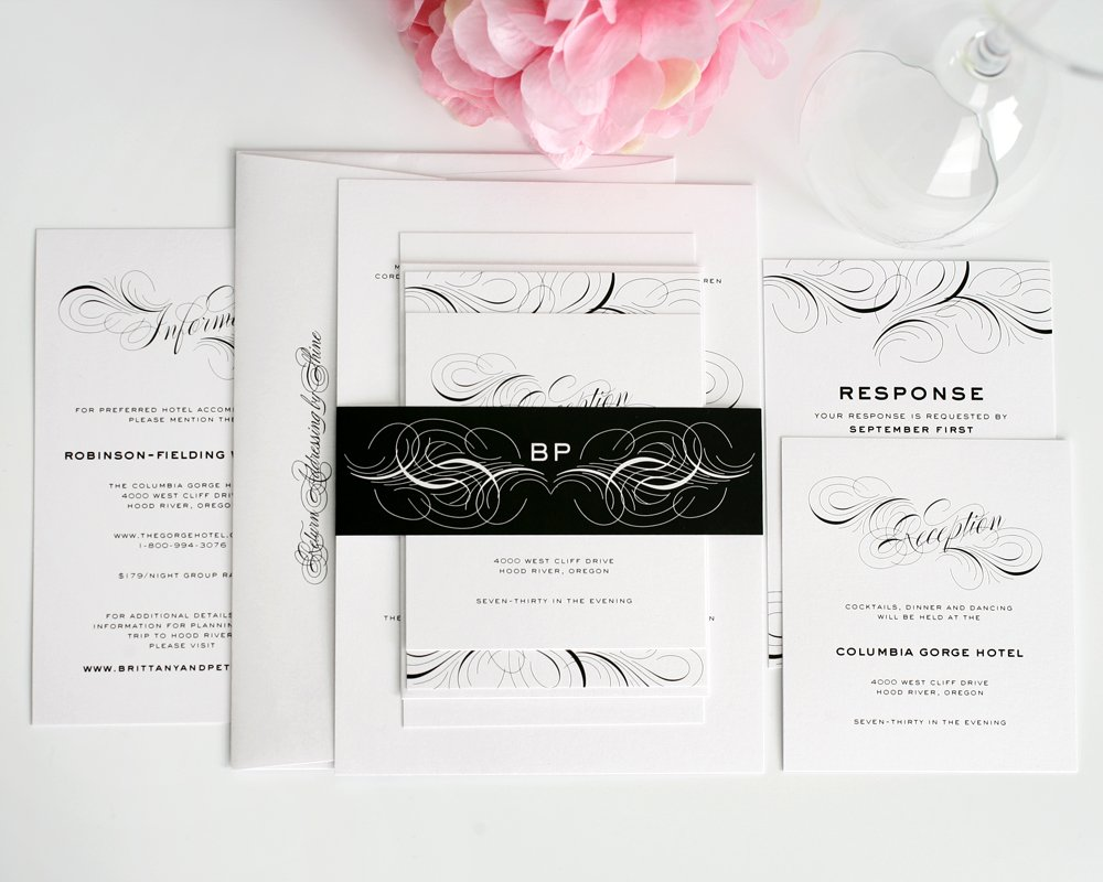 Black and White Wedding Invitations with Flourishes and Swirls