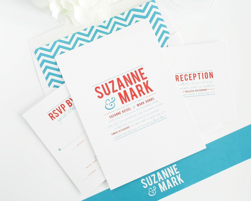 Blue and red modern wedding invitations