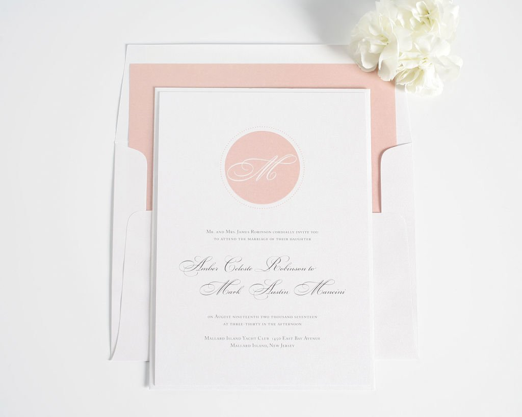 Blush Pink Wedding Invitation with Circle Monogram