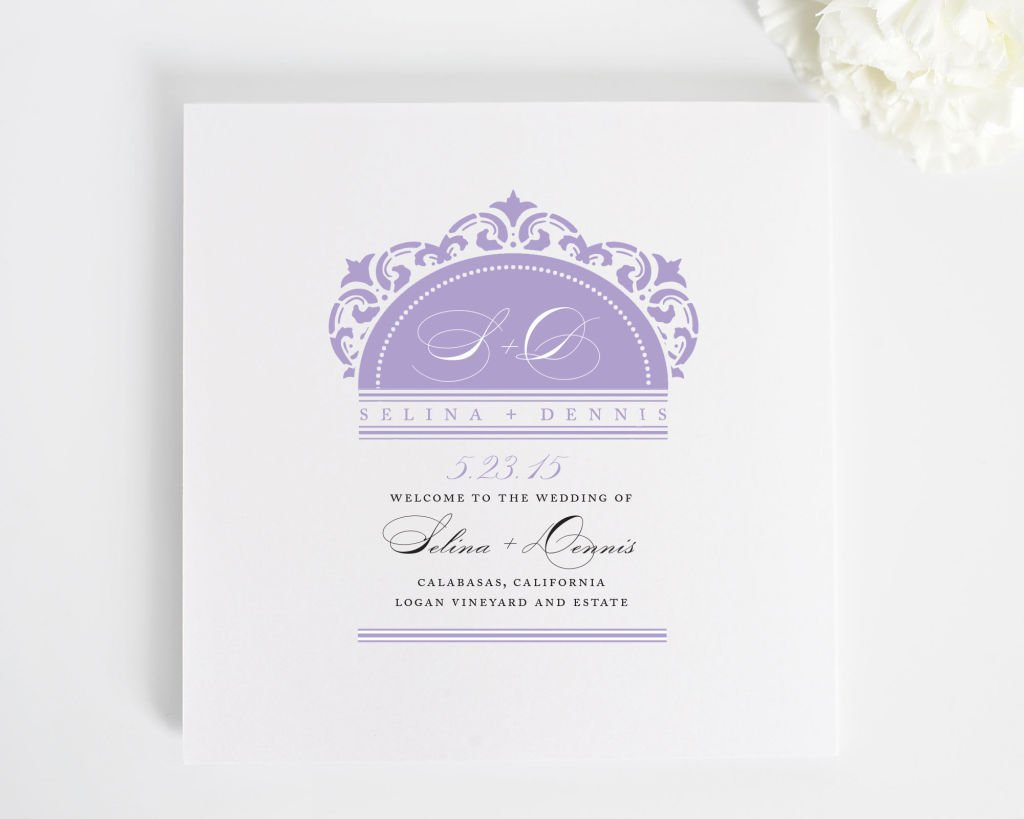 california damask square wedding program