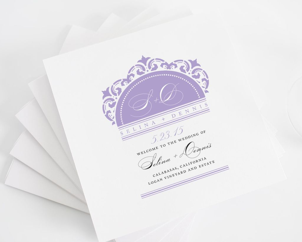 california damask square wedding programs