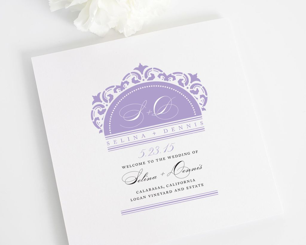 california damask wedding program