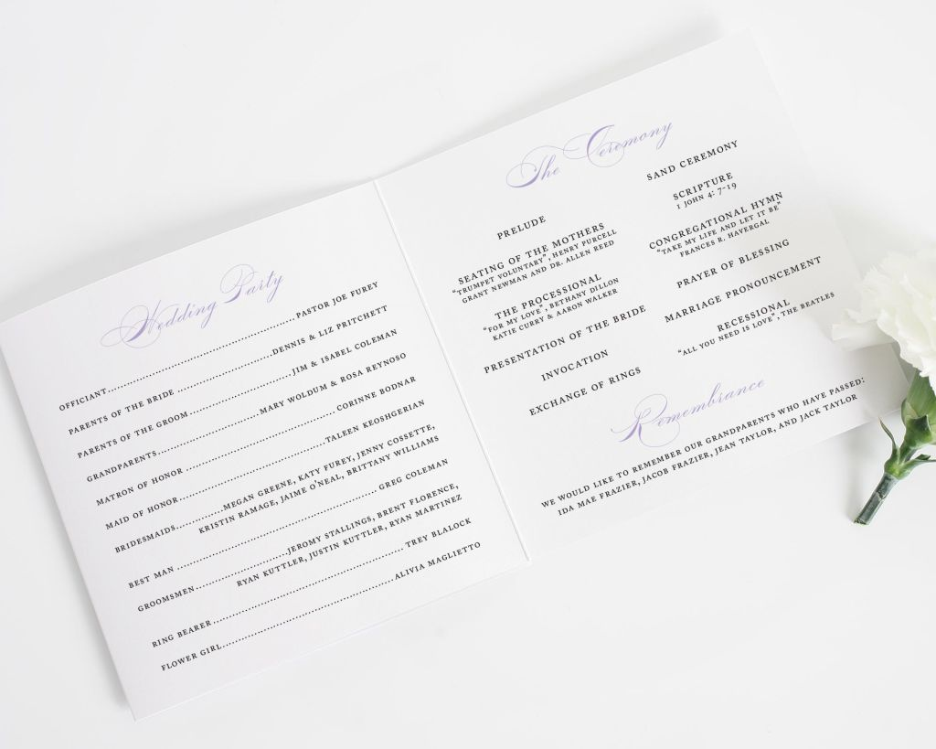 california damask trifold wedding program interior