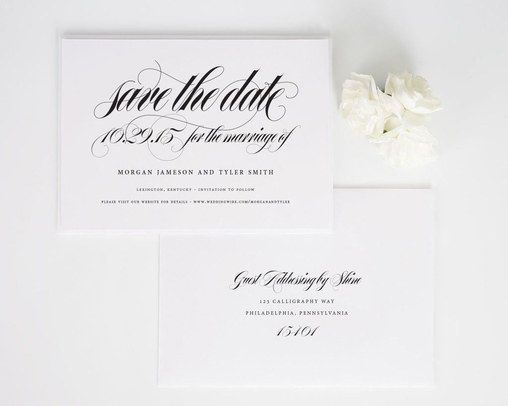 Calligraphy Names Save the Date Cards with Addressing