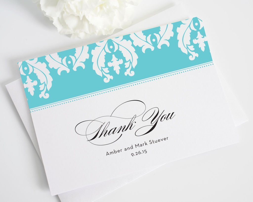 Cascading Damask Thank You Note