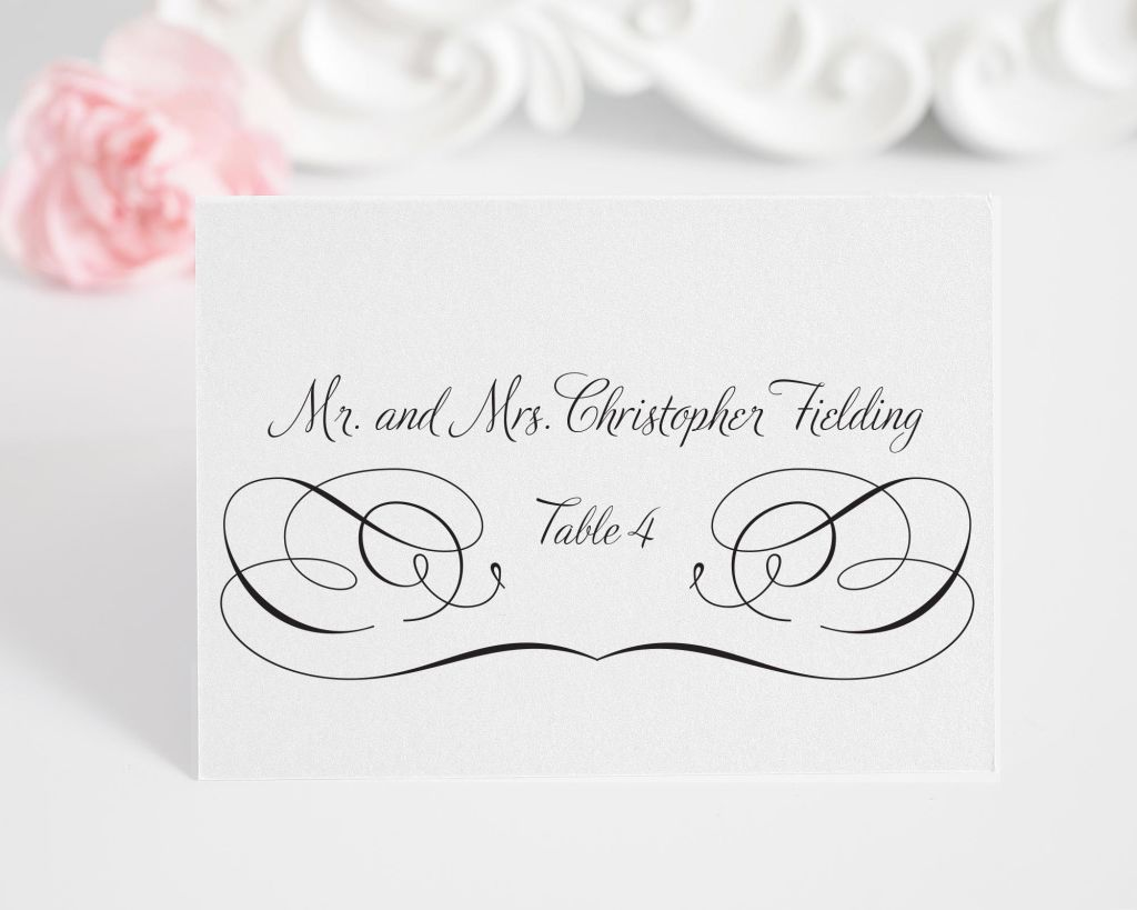 Wedding Place Cards with Swirls