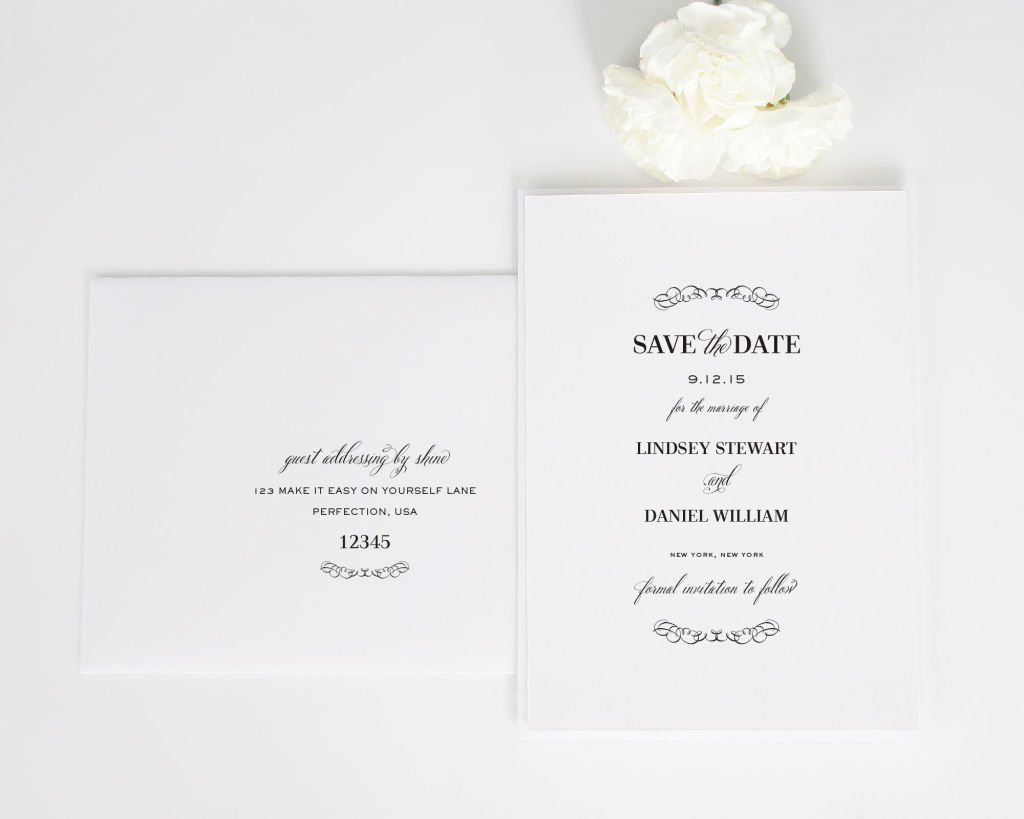 Chic Elegance Save the Date Cards with Addressing