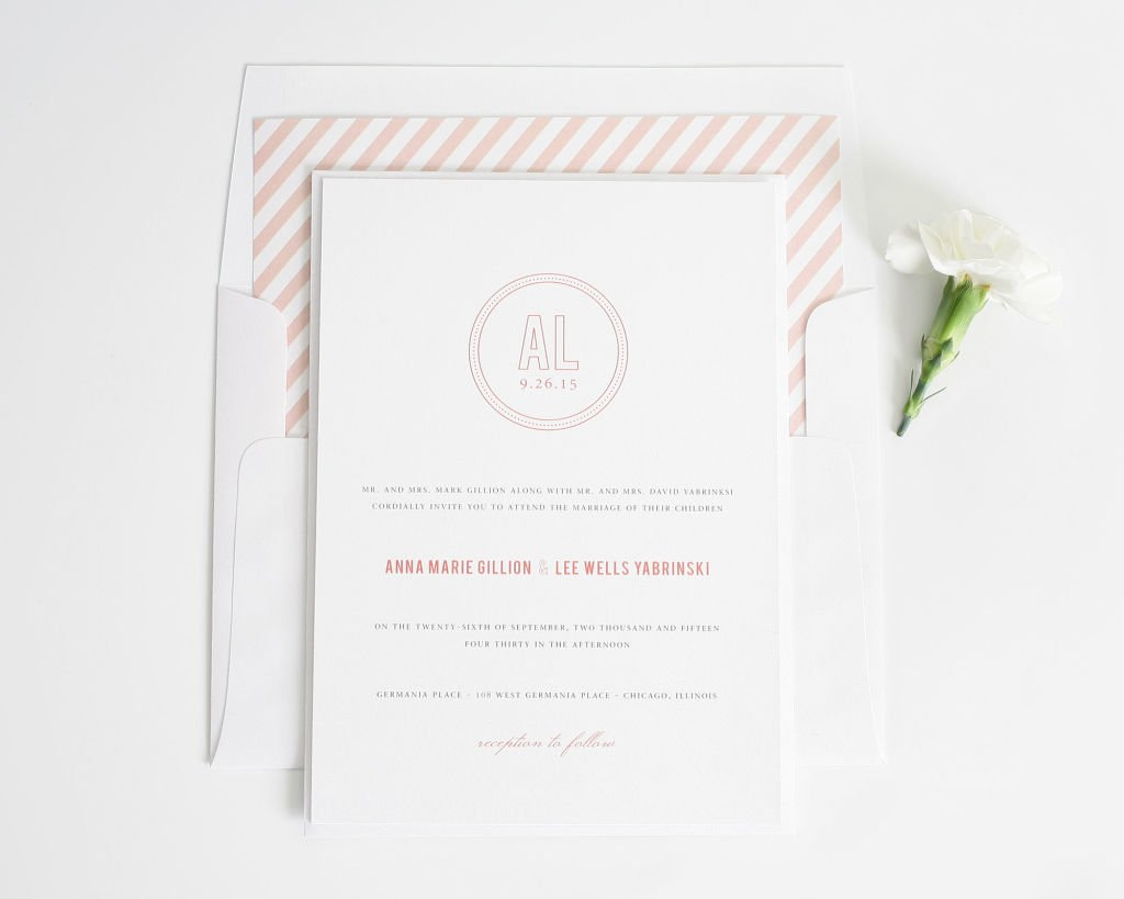 Chic Monogram Wedding Invitations with Coral Stripes