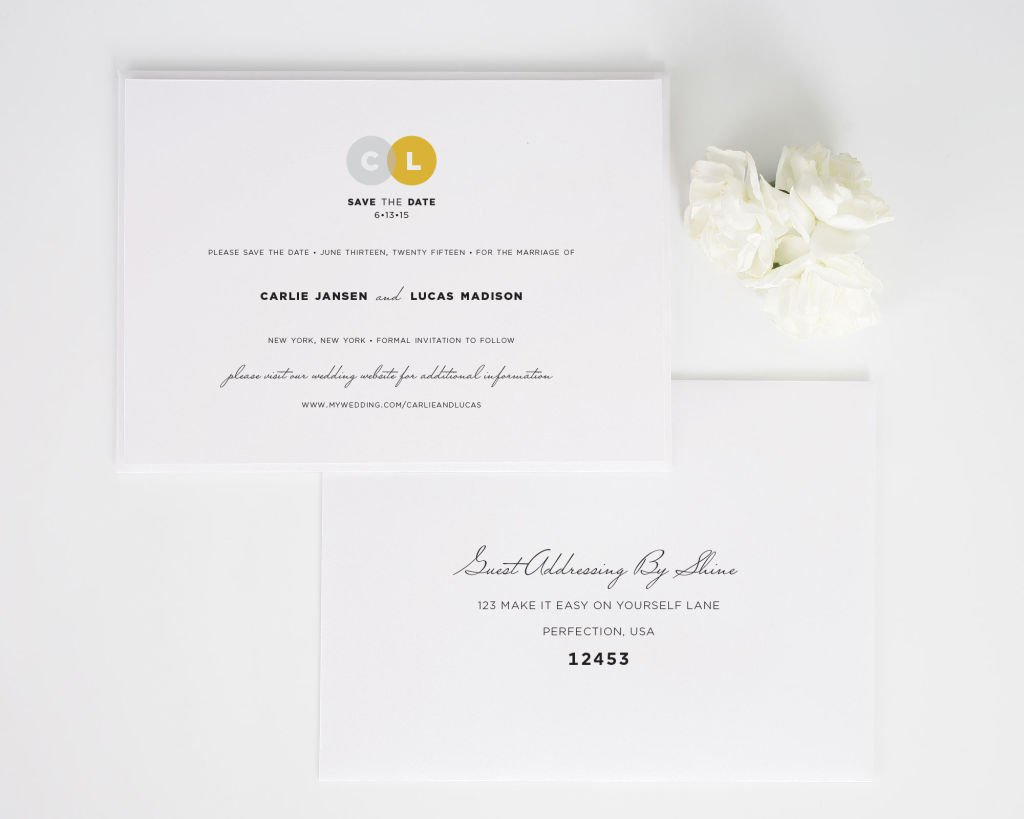 Circle Couple Save the Date Cards with Addressing