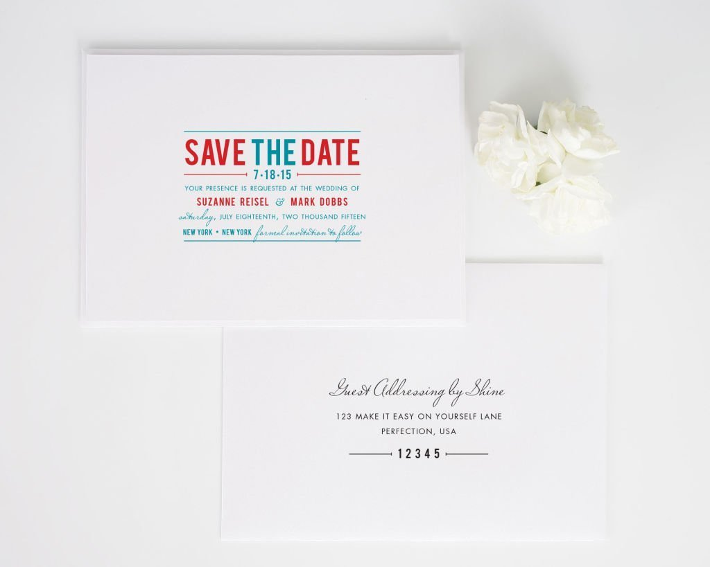 Contemporary Stack Save the Date Cards with Addressing