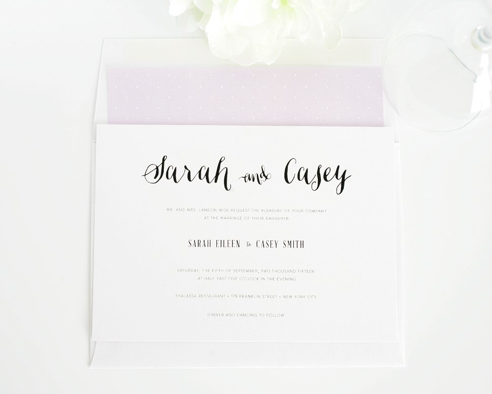 Cute script wedding invitations