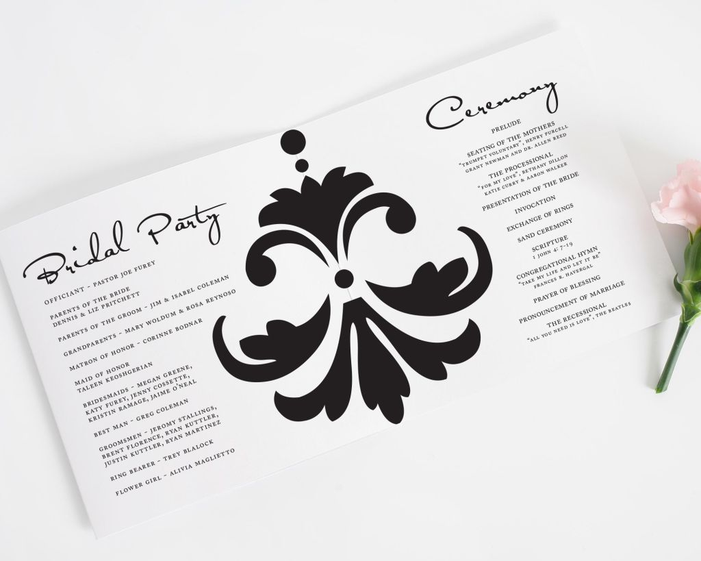 Damask Accent Trifold Wedding Program Interior