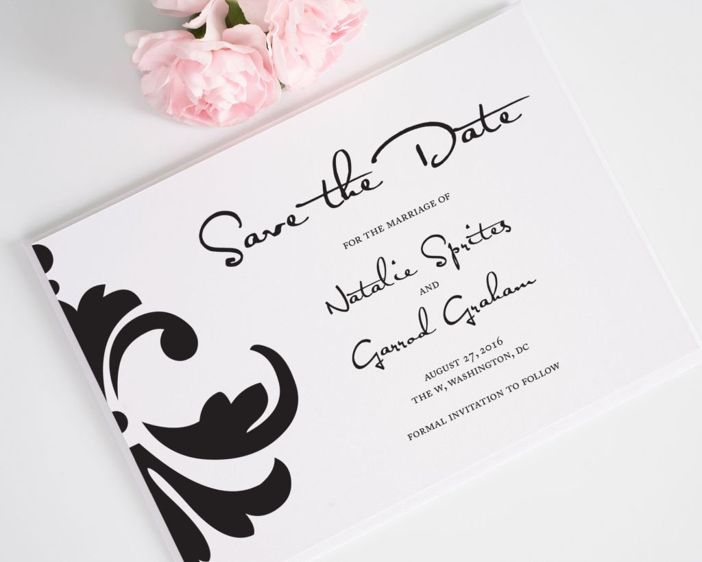 Damask Accent Save the Date Card