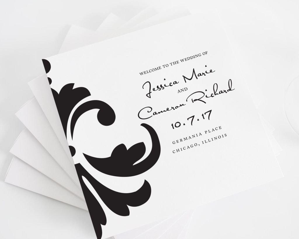 Damask Accent Square Wedding Programs