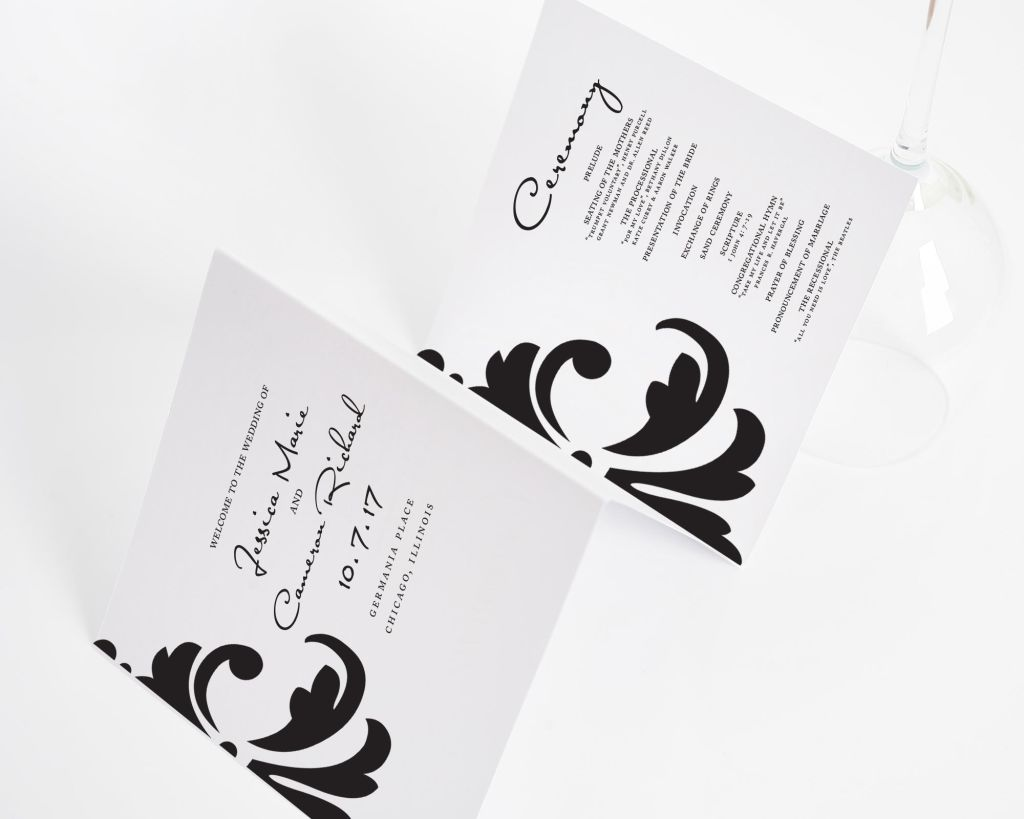 Damask Accent Wedding Programs
