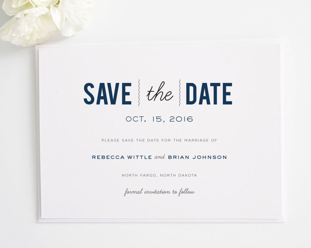 Matching Save The Date And Wedding Invitations: Date Monogram Save The Date Cards