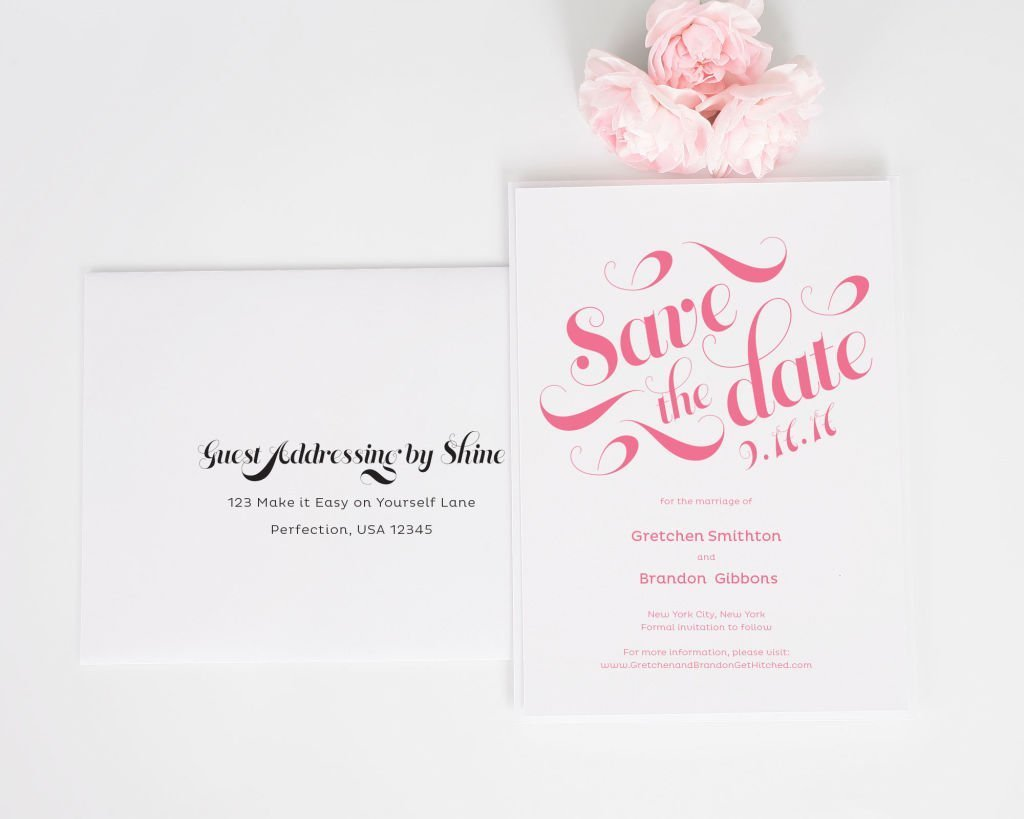 Delightful Script Save the Dates with Addressing