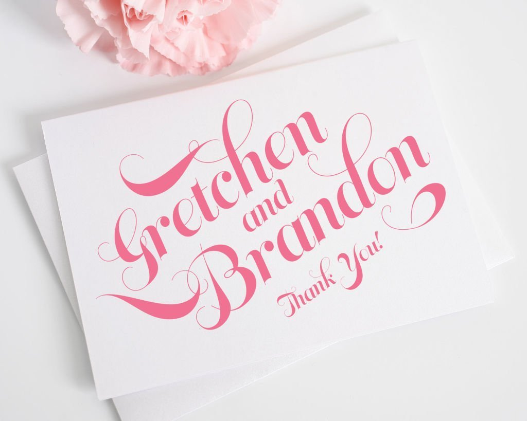 Pink Script Thank You Card