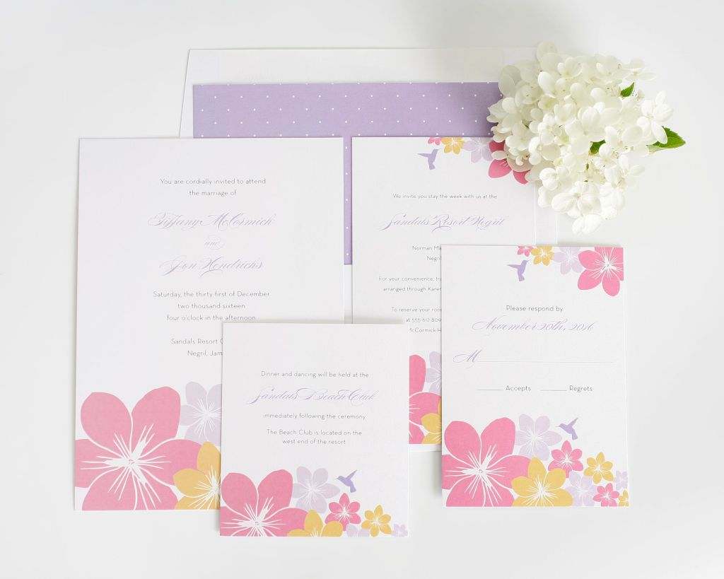 Destination wedding invitations in pastel colors