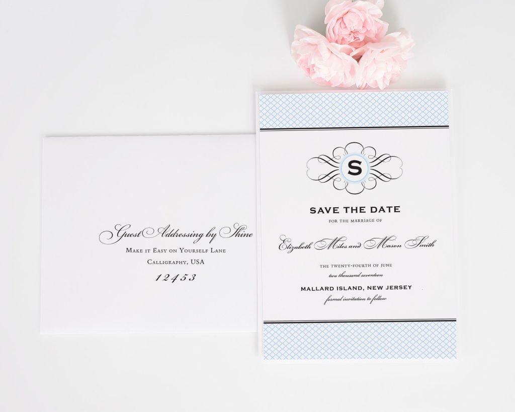 Elegance Monogram Save the Date with Addressing