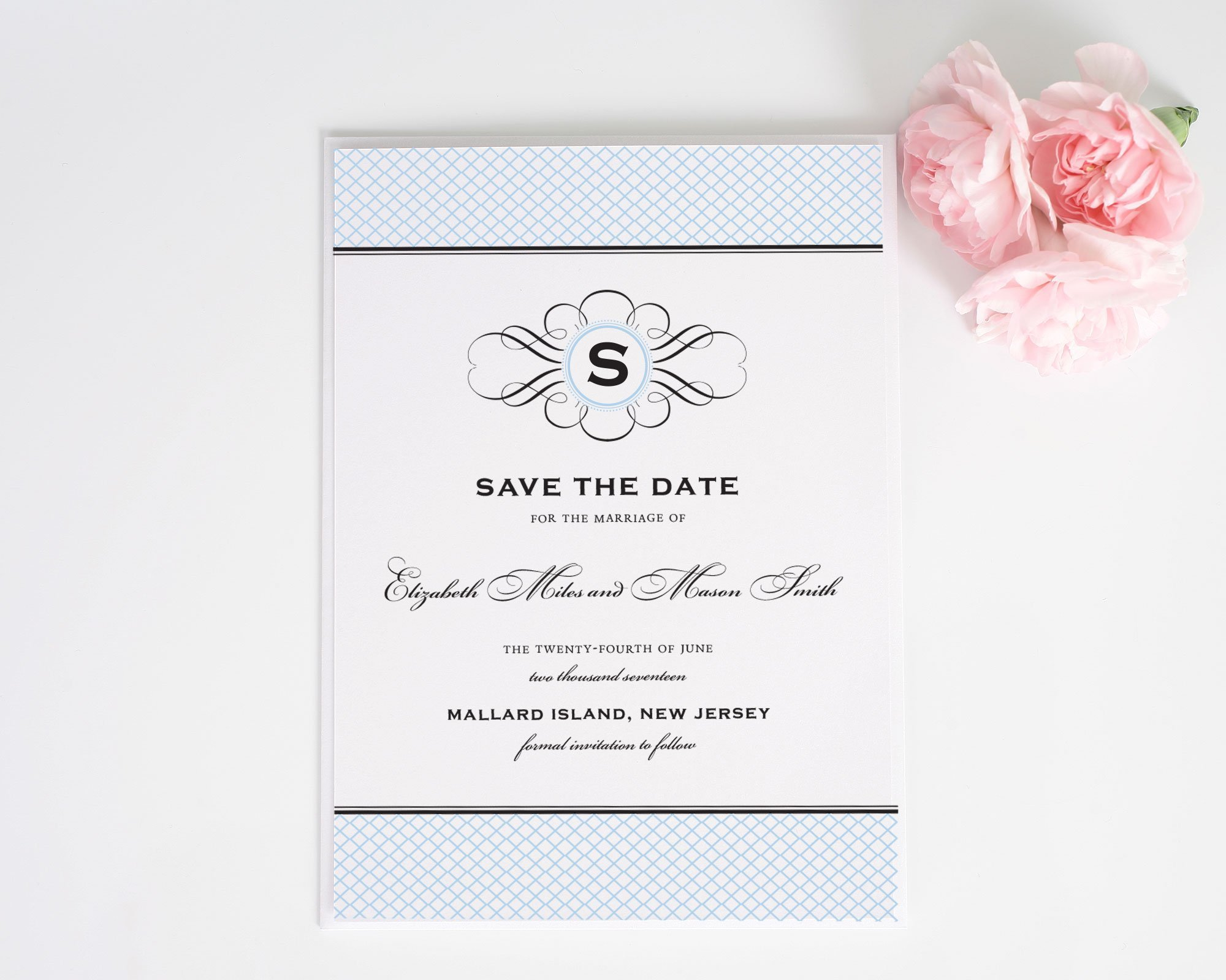 Matching Save The Date And Wedding Invitations: Elegance Monogram Save The Date Cards