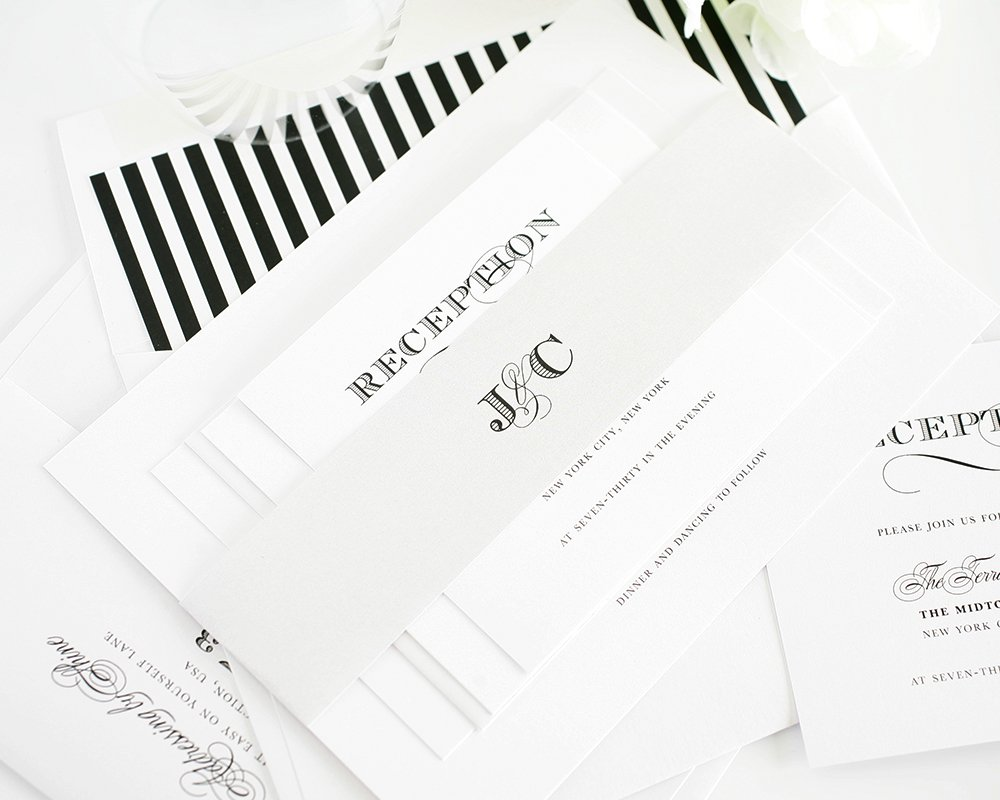 Elegant black wedding invitations with gray belly band