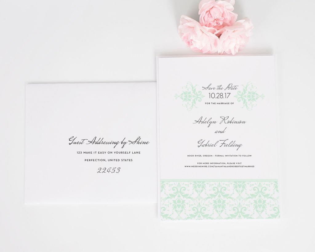 Elegant Damask Save the Date Cards with Addressing