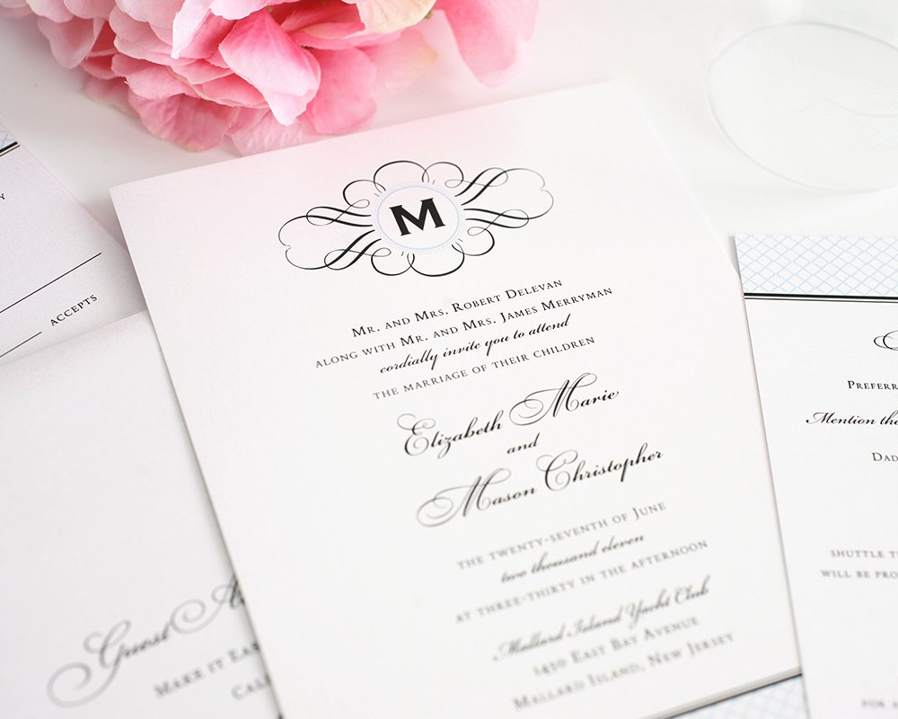 Elegance Monogram Wedding Invitations Wedding