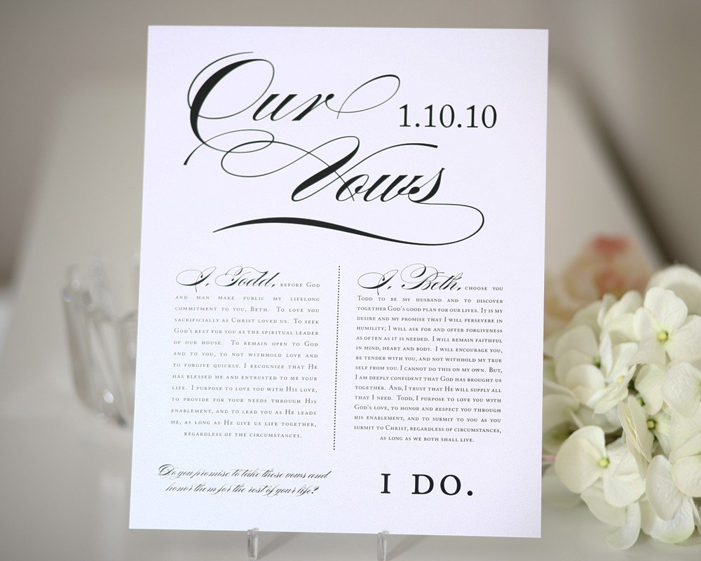 Wedding Vows Print - Wedding Gift, First Anniversary Gift - Table ...