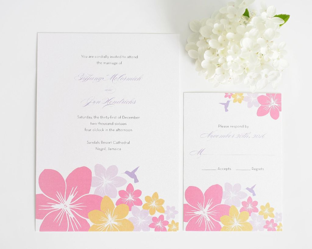 Floral wedding invitations with hummingbirds