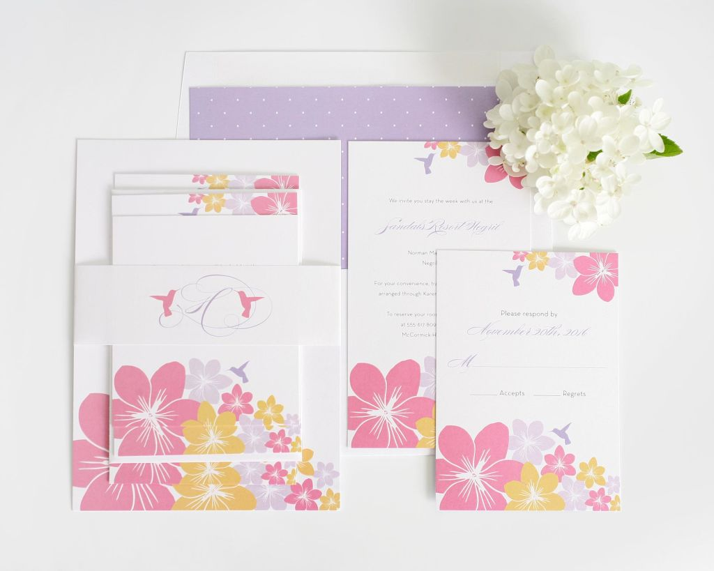 Flower Wedding Invitations with Hummingbirds