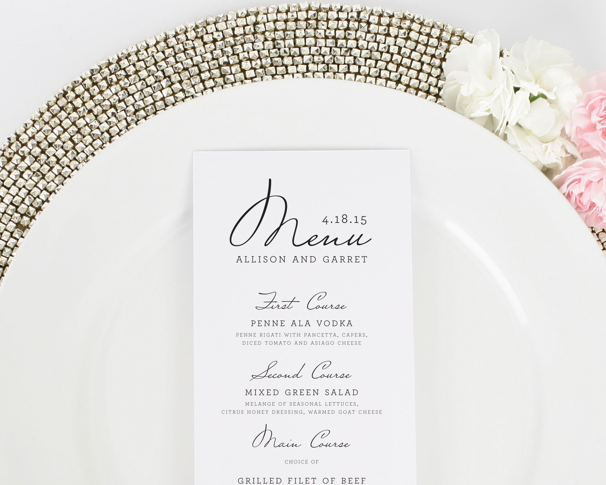 French Country Wedding Menus - Wedding Menus by Shine