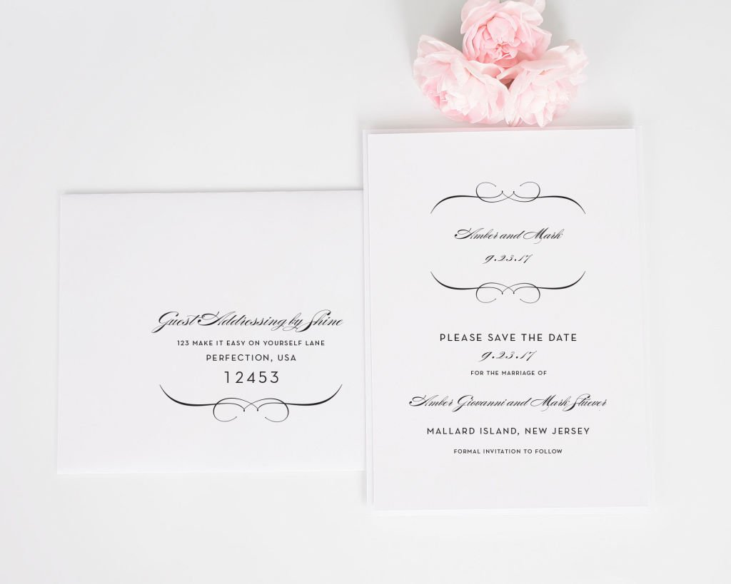 French romance save the date cards save the date cards by shine french romance save the date card with addressing stopboris Image collections