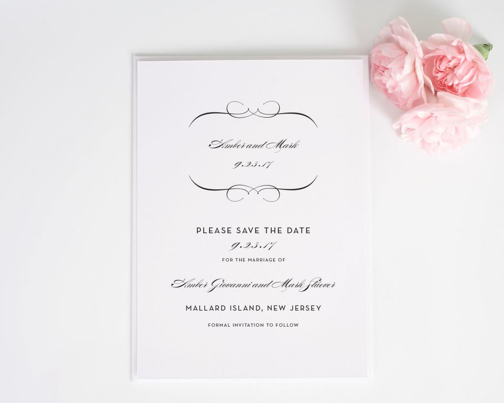 French Romance Save the Date Card
