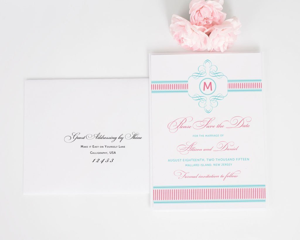 French Stripes Save the Date with Addressing