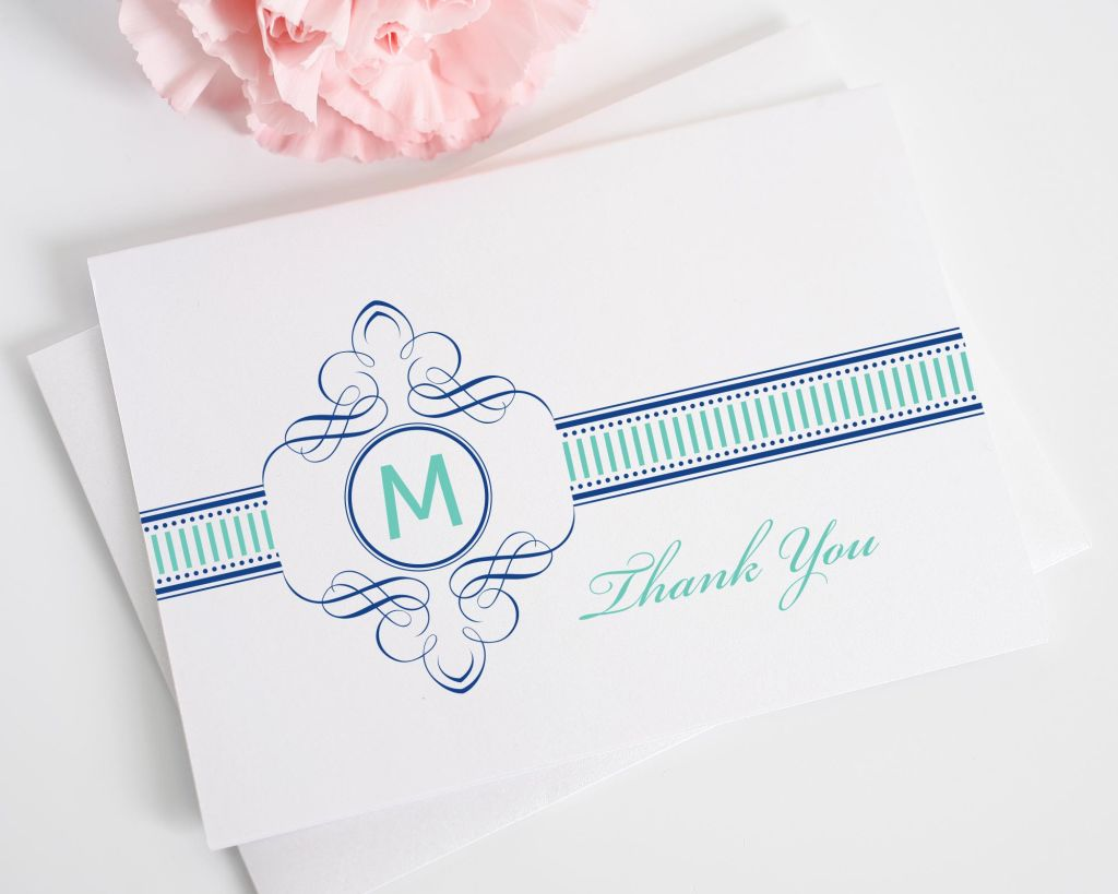 French inspired vintage wedding thank you cards in blue