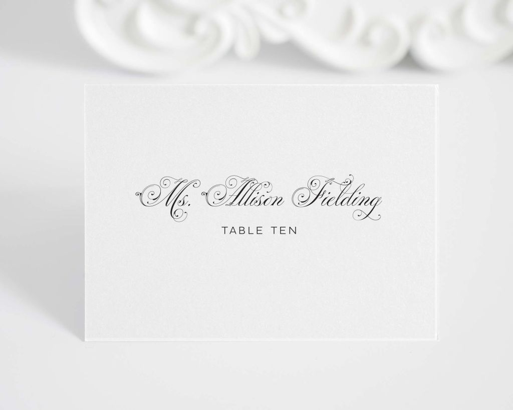 folded place cards with glamorous script font - Folded Place Cards