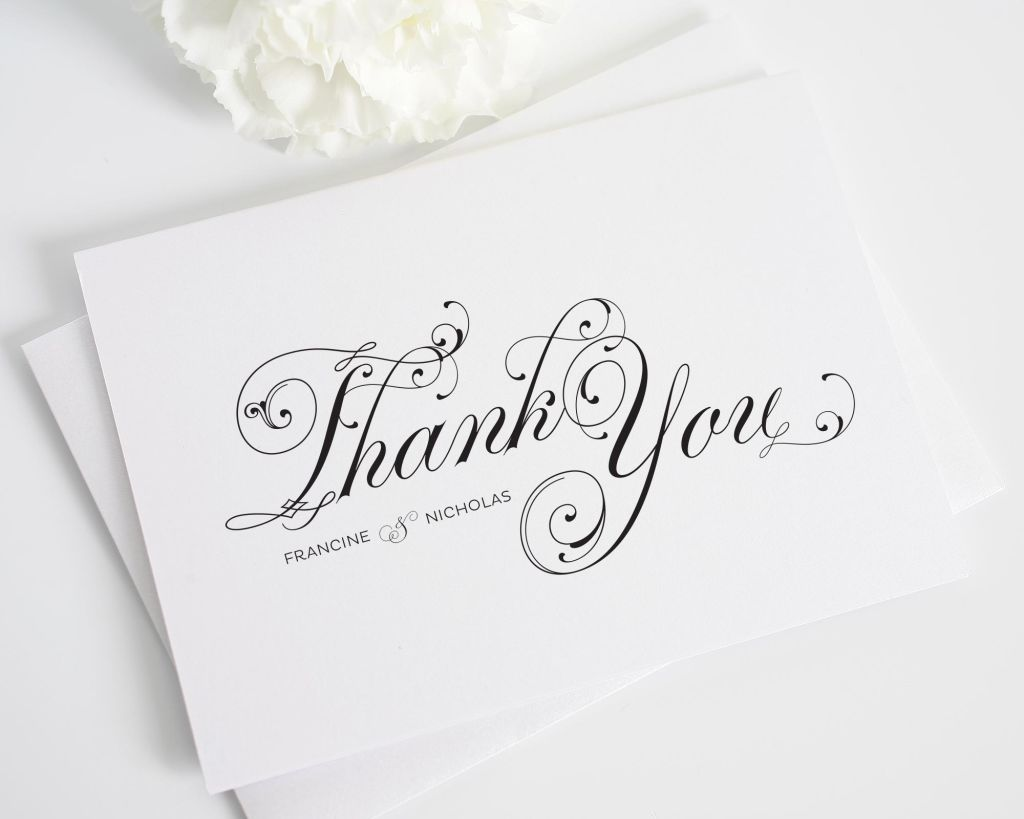 Black Script Thank You Cards