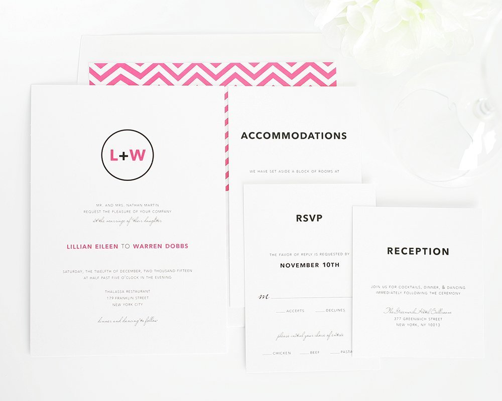 Hot pink wedding invitations with chevron pattern