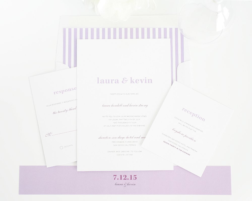 Lavendar purple wedding invitations