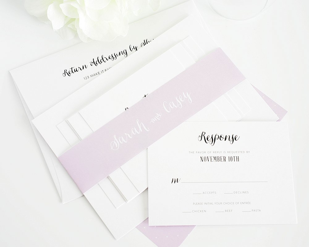 Light purple wedding invitation suite