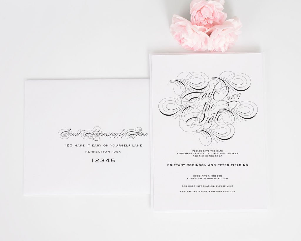 Luxe Flourish Save the Dates with Addressing