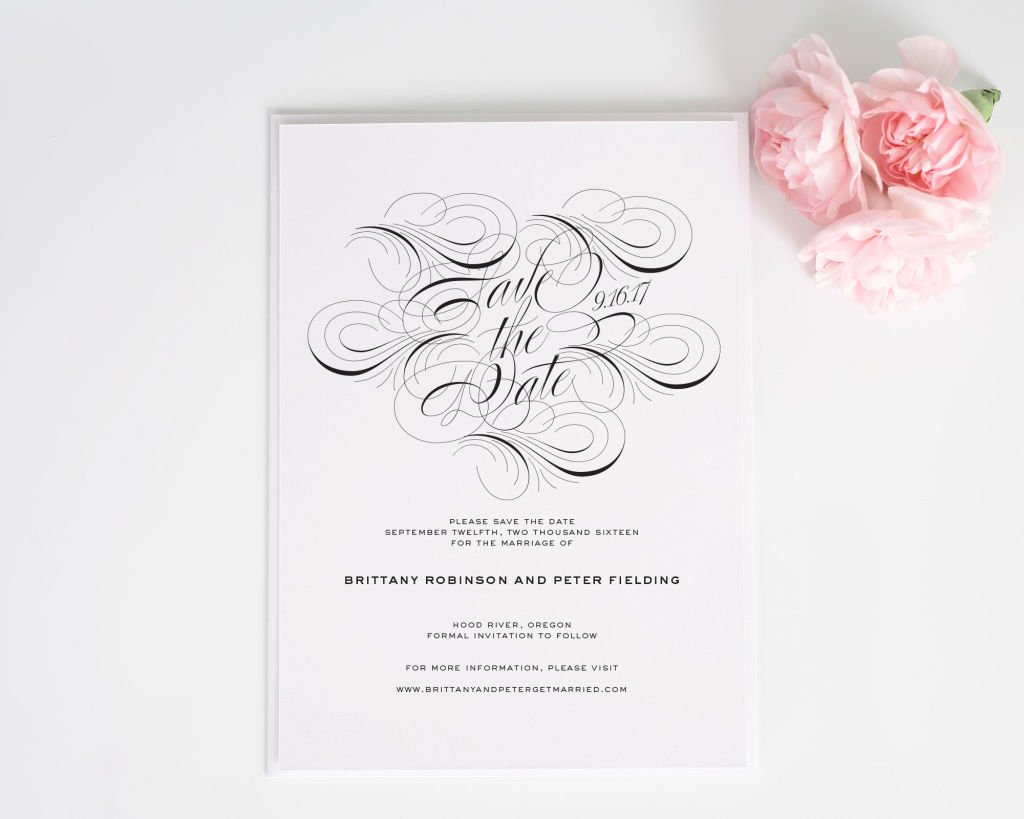 Luxe Flourish Save the Date Cards