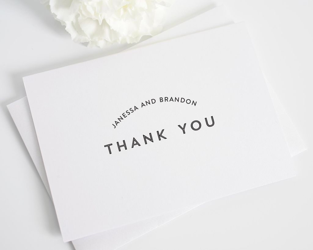 Simple Black Thank You Card