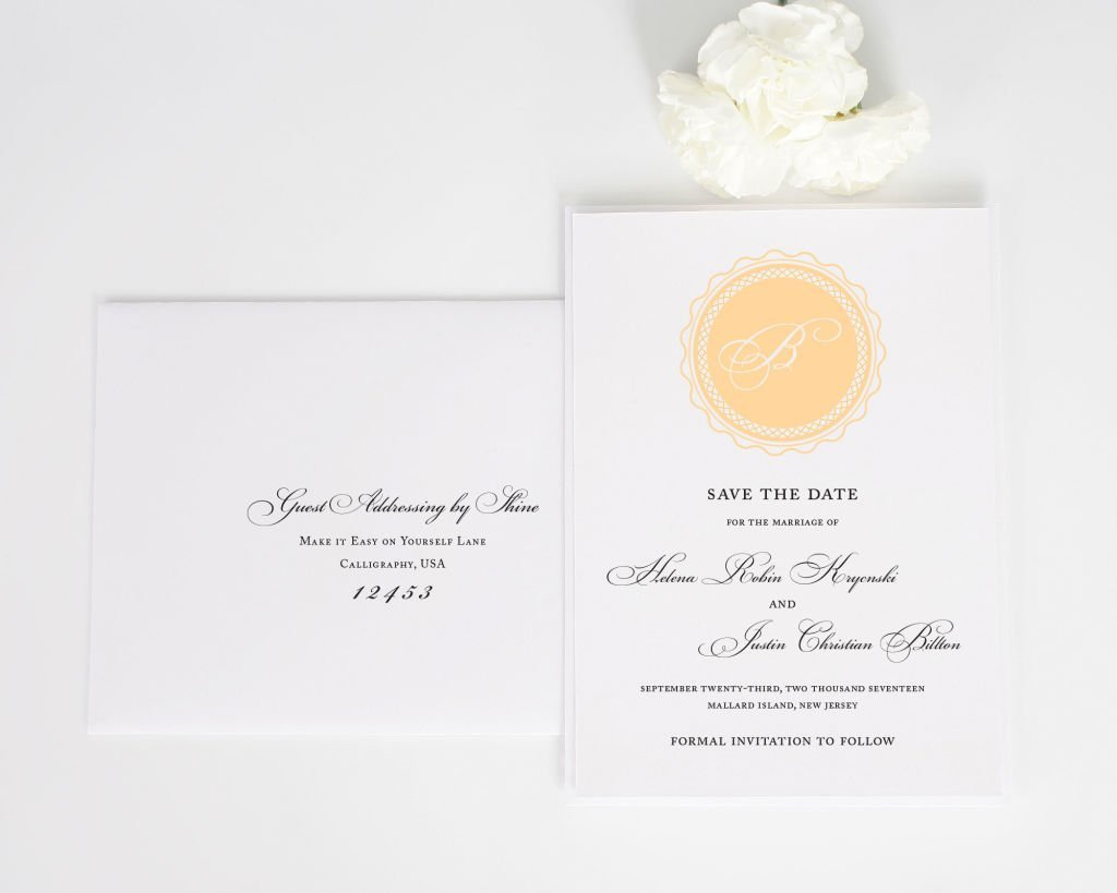 Medallion Monogram Save the Date with Addressing